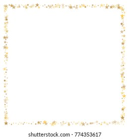 sparkling gold stars frame or border background, christmas lights confetti golden sparkles square. magic shining Flying stars glitter cosmic backdrop, vector border.