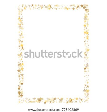 055ad56ff829 Sparkling Gold Stars Frame Border Background Stock Vector (Royalty ...