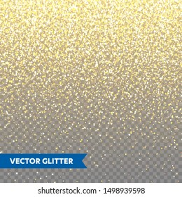 Sparkling Golden Glitter on Transparent Vector Background. Falling Shiny Confetti with Gold Shards. Shining Light Effect for Christmas or New Year Greeting Card.