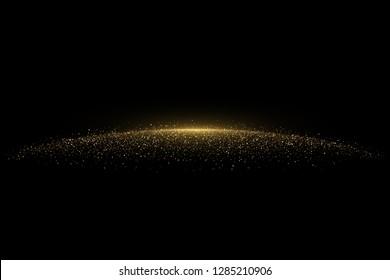 Sparkling golden glittering effect. Shiny background decorative element isolated on black
