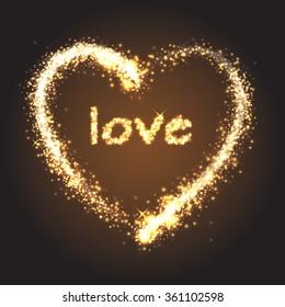 Sparkling golden heart with love on dark background