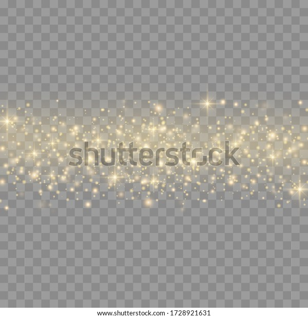 Sparkling golden magic dust particles on transparent background, yellow dust sparks and star shine with special light, Christmas sparkl light effect, sparkle, shine lights, vector illustration.