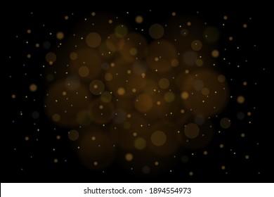 Sparkling golden magic stars on black background. White sparks and stars glitter special light effect. Cosmic glittering wave.
