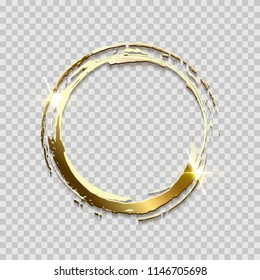 Sparkling golden ring frame made on brush stroke isolated on transparent background. Vector design element.
