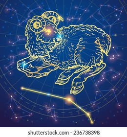 Sparkling hand-drawn aries sheep zodiac sign on a night sky star background