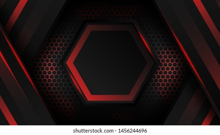 Sparkling hexagon shiny blue light background. Luxury bright red lines with metal effect style. Black lines with golden borders on dark background. Vector Illustration