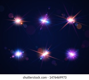 Sparkling light effects of flash. Glowing lens flares and colorful twinkle. Set of beautiful glare effects with bokeh, glitter particles and rays. Shining abstract background. Vector illustration
