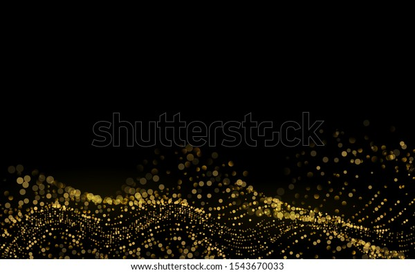 Sparkling luminous Gold Stars. Star Dust Sparks in Explosion on Black Background. Beautiful 3d Wave Shaped Array of Blended Points. Glitter particles effect. Vector Illustration