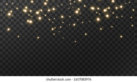 Sparkling magical dust. On a textural black background. Celebration abstract background made of golden glittering dust particles. Magical effect. Golden stars. Festive vector illustration.