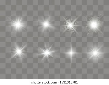 Sparkling magical dust particles. Bright Star. Transparent shining sun, bright flash. Vector sparkles. White glowing light explodes on a transparent background.