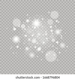 Sparkling magical dust particles. Glowing light effect with many glitter particles isolated on transparent background. Christmas abstract pattern. Vector sparkles on a transparent background.