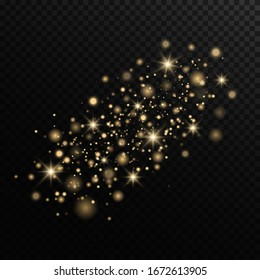 Sparkling magical dust particles. The dust sparks and golden stars shine with special light on a black transparent background. Golden shiny light effect. Vector sparkles.