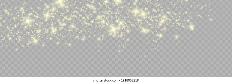 Sparkling magical dust particles . The dust sparks and golden stars shine with special light.