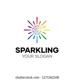 Sparkling Modern Beautiful Rainbow Spark Lines Logo Design Template
