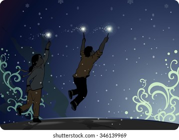 Sparkling New Year-vector illustration of semi silhouette of children's holding up their fireworks