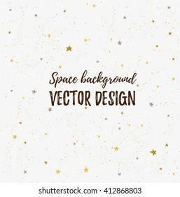 Sparkling nights sky with stars and light space. Vector hand drawn stylish background. Hipster template for poster, banner and wedding card design.