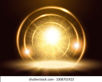 Sparkling particles and rings, attractive golden color glitter element for design uses