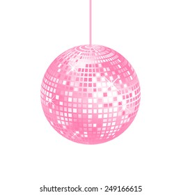 Sparkling pink disco ball isolated on a white background, vector illustration