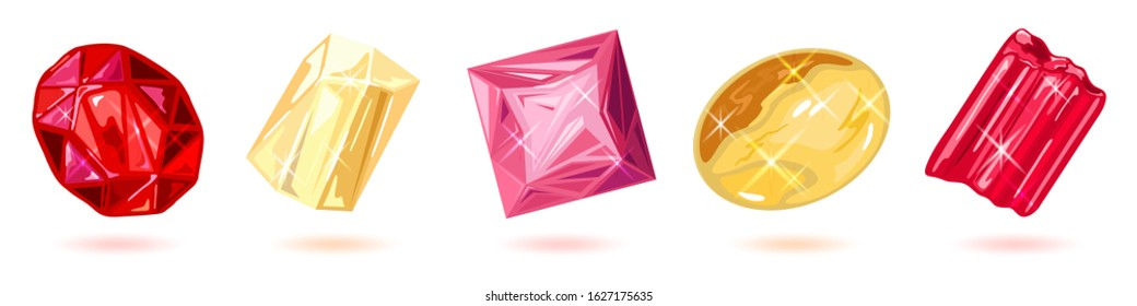 Sparkling red, yellow and pink gemstones, minerals, precious stones for jewelry and decorations ruby, garnet, topaz, citrine, tourmaline, rubellite. Vector set isolated on white background.