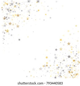 sparkling silver and gold stars corners background, golden christmas lights confetti falling. magic shining Flying stars on night sky glitter cosmic backdrop, sparkle vector border.