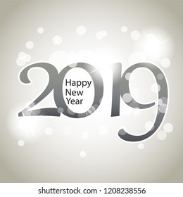 Sparkling Silver Grey New Year Card, Cover or Background Design Template - 2019