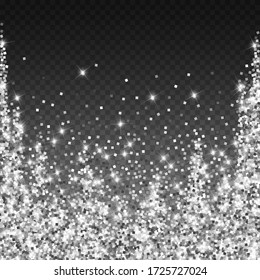 Sparkling silver luxury sparkling confetti. Scattered small gold particles on trasparent background. Adorable festive overlay template. Cute vector illustration.