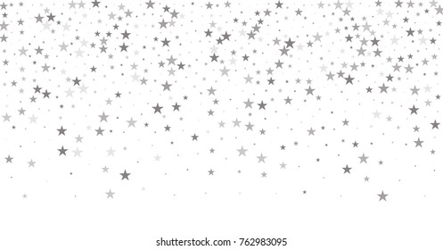 sparkling silver stars background, christmas light confetti falling. magic shining Flying stars on night sky glitter cosmic backdrop, sparkle vector border.