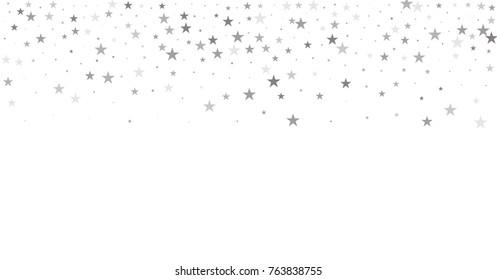 sparkling silver stars background, christmas light confetti falling. magic shining Flying stars on night sky glitter cosmic backdrop, sparkle vector border.