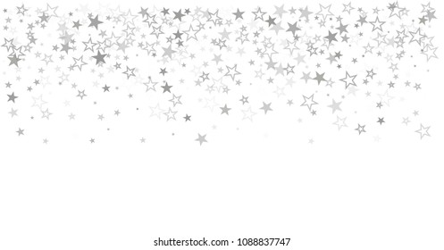 sparkling silver stars vector border background, golden christmas lights confetti falling. magic shining Flying stars on night sky glitter cosmic backdrop, sparkle