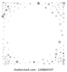 sparkling stars background, silver christmas lights confetti falling. magic shining Flying stars on night sky glitter cosmic backdrop, sparkle vector border.