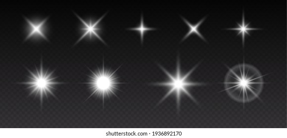 Sparkling stars, flickering and flashing lights. Collection of different light effects on black background. Realistic vector illustration