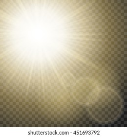 Sparkling sun rays with hot spot and flares with star flare effect on transparent background . Vector.