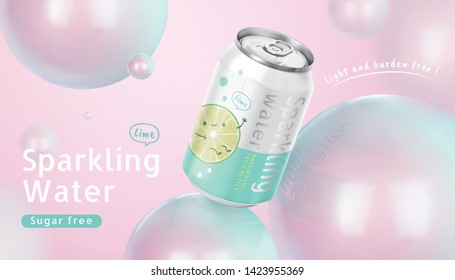 Sparkling water ads with lovely glossy sphere balls in 3d illustration