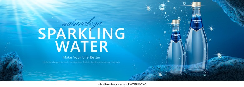 Sparkling water banner ads with product under water in 3d illustration