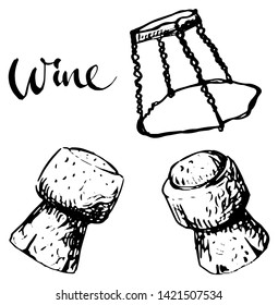 Sparkling wine cork from different views and muselet. Vintage black and white illustration, isolated