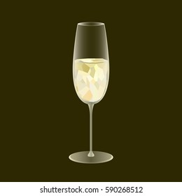 Sparkling wine glass. Low poly and transparency vector design. Alcohol drink symbol. Restaurant or bar promotional banner. Vector illustration.