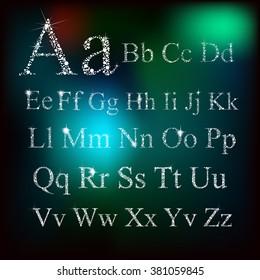 sparkling winter alphabet. Vector