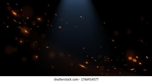 Sparks with blue back light background