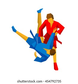 Sparring of two athletes in red and blue uniform. Martial arts competition - judo, sambo, wrestling, jiu jitsu.