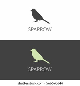 Sparrow bird  sign icon logo on a white and dark background