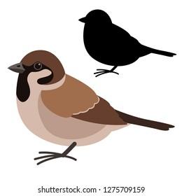 sparrow bird , vector illustration , flat style ,black  silhouette