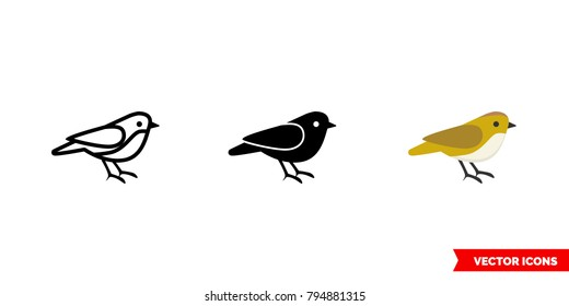Sparrow icon of 3 types: color, black and white, outline. Isolated vector sign symbol.