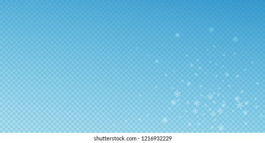 Sparse glowing snow Christmas background. Subtle flying snow flakes and stars on blue transparent background. Artistic winter silver snowflake overlay template. Uncommon vector illustration.