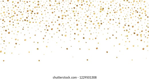 Sparse gold confetti luxury sparkling confetti. Scattered small gold particles on white background. Awesome festive overlay template. Rare vector illustration.