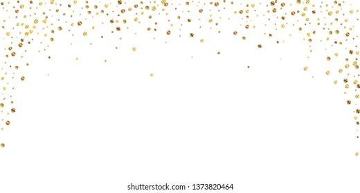 Sparse gold confetti luxury sparkling confetti. Scattered small gold particles on white background. Beautiful festive overlay template. Appealing vector illustration.