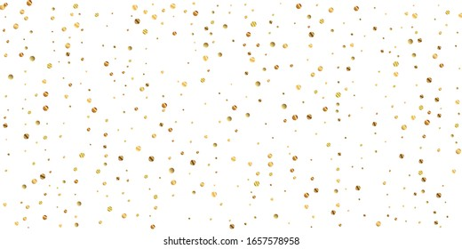 Sparse gold confetti luxury sparkling confetti. Scattered small gold particles on white background. Bizarre festive overlay template. Lively vector illustration.