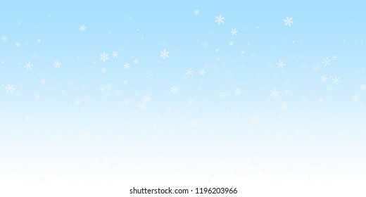 Sparse snowfall Christmas background. Subtle flying snow flakes and stars on winter sky background. Beautiful winter silver snowflake overlay template. Divine vector illustration.