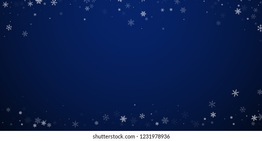 Sparse snowfall Christmas background. Subtle flying snow flakes and stars on dark blue night background. Authentic winter silver snowflake overlay template. Mesmeric vector illustration.