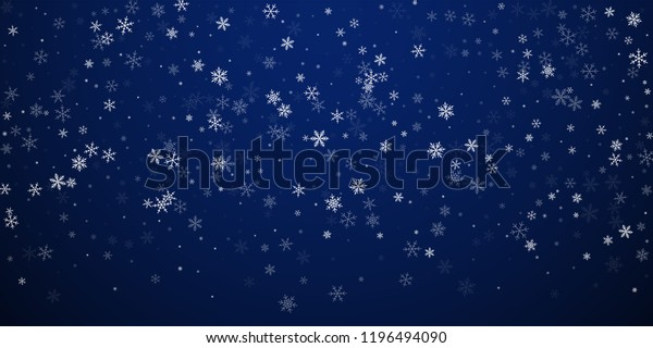 Sparse snowfall Christmas background. Subtle flying snow flakes and stars on dark blue night background. Beauteous winter silver snowflake overlay template. Symmetrical vector illustration.
