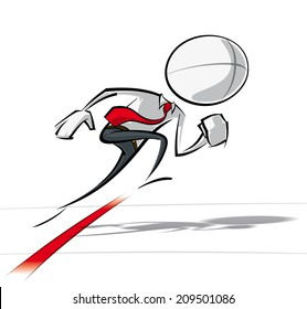 Sparse vector illustration of a of a generic Business cartoon character starting a race.